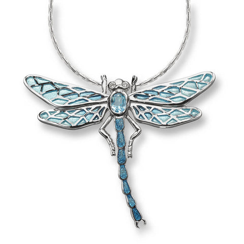 Enamel and Sterling Silver Dragonfly Necklace with Blue Topaz and White Sapphires NN0143YA