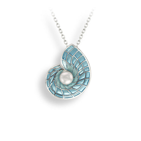 Enamel and Sterling Silver Blue Nautilus Shell Necklace with Freshwater Pearl NN0367A
