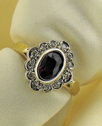 Garnet, Diamond & Gold Ring No.176GA