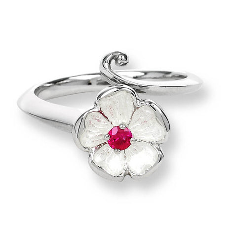 Enamel and Ruby Silver Rose Ring NR0019XC