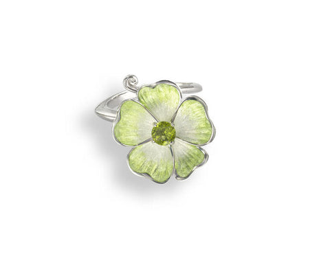 Enamel and Peridot Silver Rose Ring NRO364SC