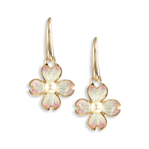 Enamel and Akoya Pearl Dogwood Earrings NWO144ARG