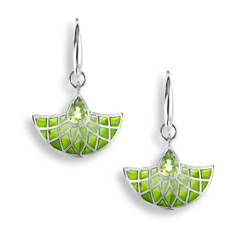 Enamel and Peridot Silver Art Deco Fan Earrings NWO166SC