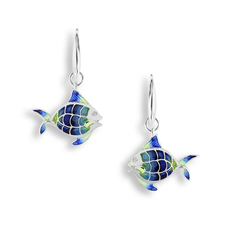 Enamel and Sterling Silver Angel Fish Drop Earrings NW0168WB