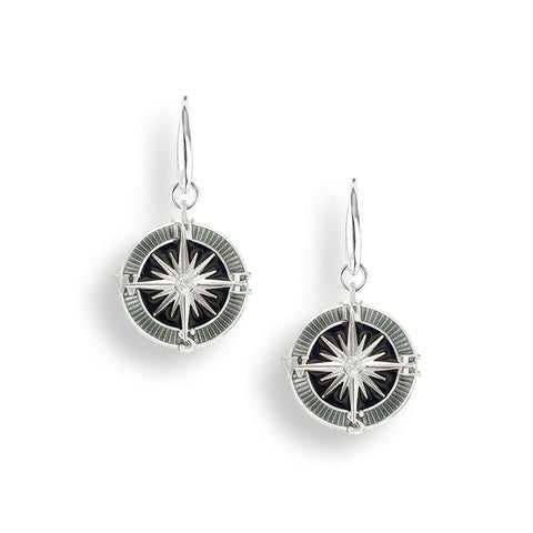 Enamel and White Sapphire Compass Drop Earrings NW0370YA