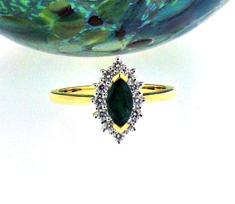 Emerald & Diamond Gold Ring R162