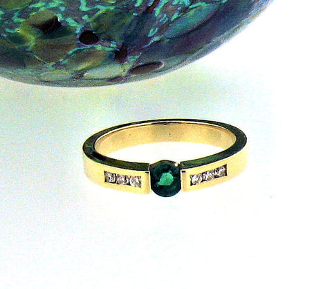 Emerald & Diamond Gold Ring R204
