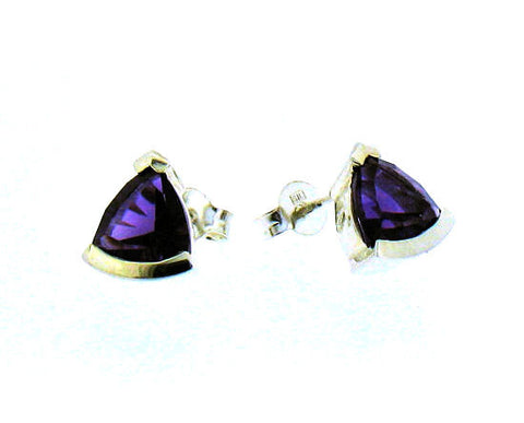 Amethyst Silver Stud Earrings S1027