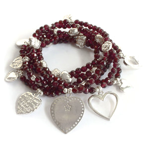 Hearts 6-Bracelet Garnet Set - good charma