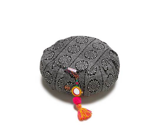 chattra Black Bandhani Zafu Cushion