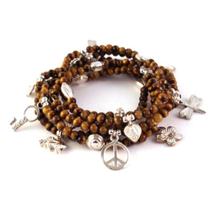 Lucky 6-Bracelet Tigers Eye Set - Good Charma
