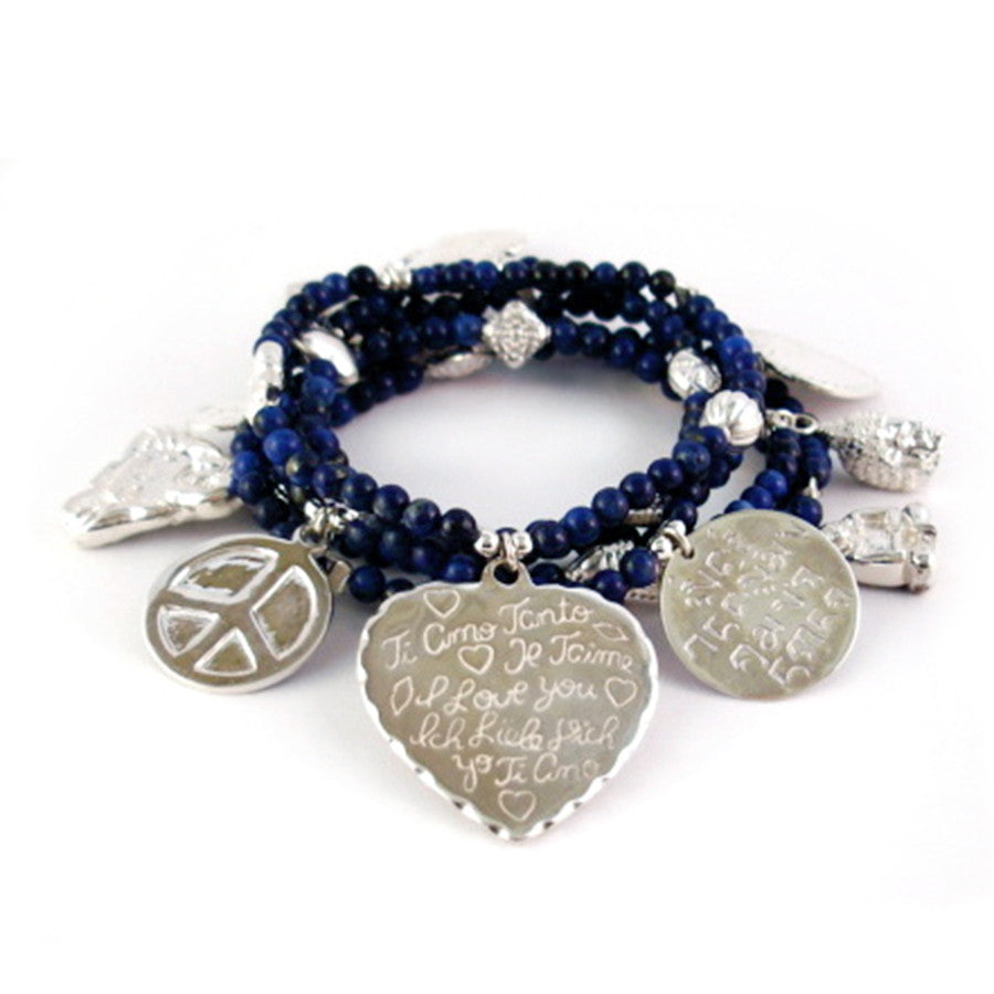 Peace & Love 6-Bracelet Lapis Set - good charma