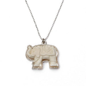 Hand Carved Bone Elephant Necklace - good charma