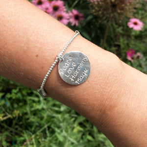 Peace, Love, Harmony, Magic Charm on Sterling Silver Bracelet - good charma