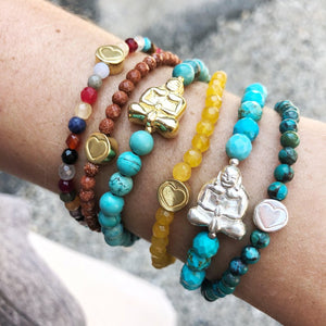 Gold Peaceful Buddha Gemstone Bracelet