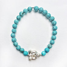 Load image into Gallery viewer, Silver Peaceful Buddha Gemstone Bracelet - Turquoise