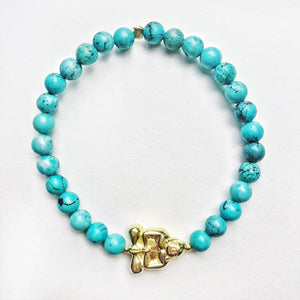 Gold Peaceful Buddha Gemstone Bracelet - Turquoise