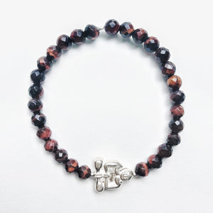 Silver Peaceful Buddha Gemstone Bracelet - Red Tigers Eye