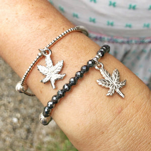 Cannabis Leaf Charm Bracelet in Sterling Silver