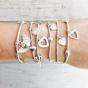 Lucky 13 Heart Bracelet Set in Sterling Silver