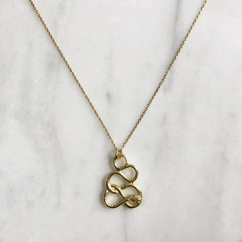 Healing Serpent Gold Necklace - good charma