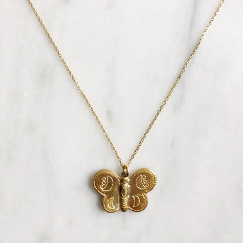 Gold Butterfly Necklace - good charma