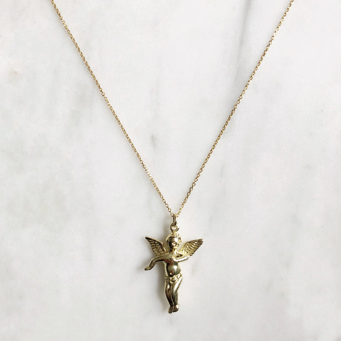 Gold Guardian Angel Necklace - good charma