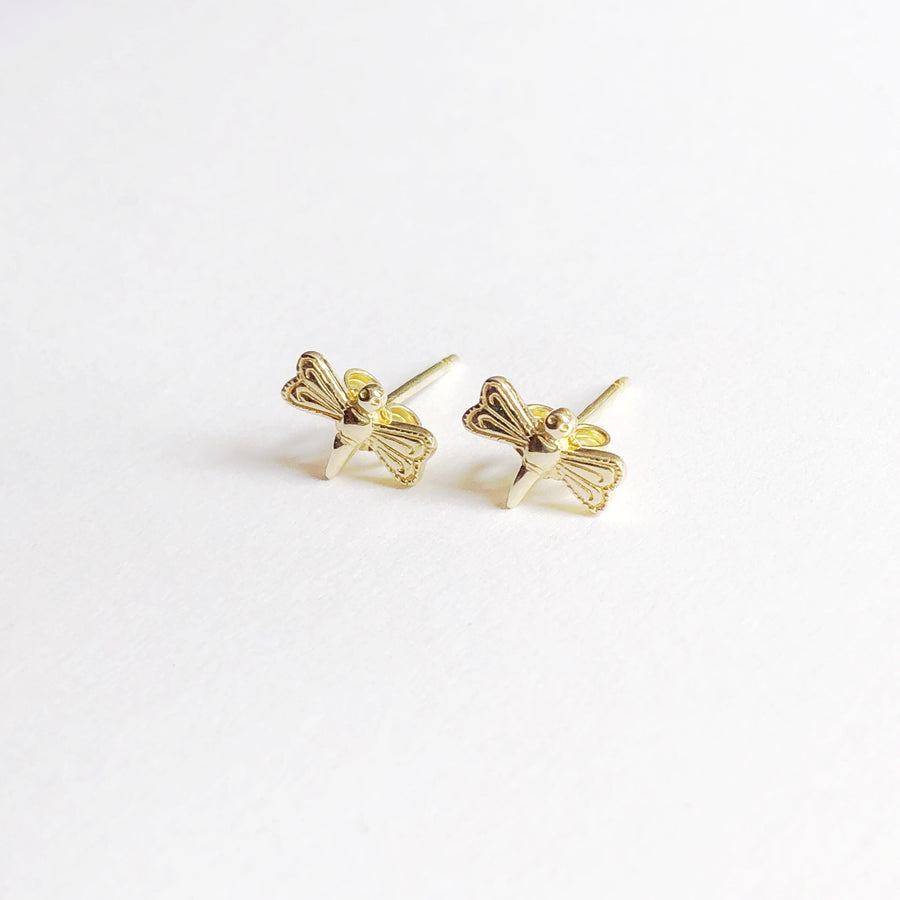 Gold Dragonfly Studs