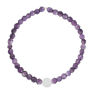 Amethyst & Sterling Silver Friendship Heart Bracelet