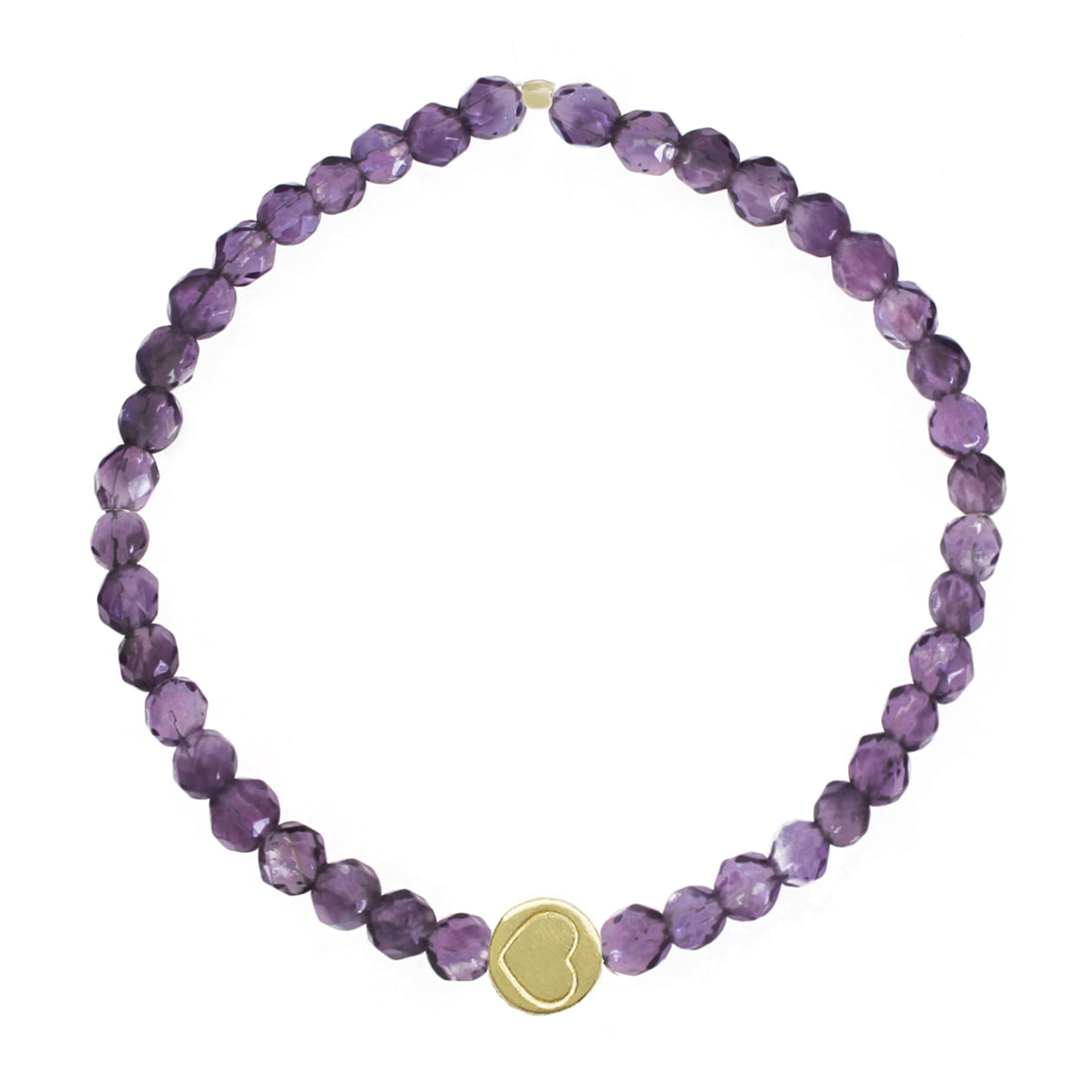 Amethyst & Gold Vermeil Friendship Heart Bracelet