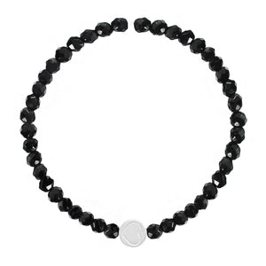 Black Onyx & Sterling Silver Friendship Heart Bracelet