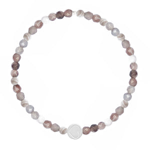 Botswana Agate & Sterling Silver Friendship Heart Bracelet