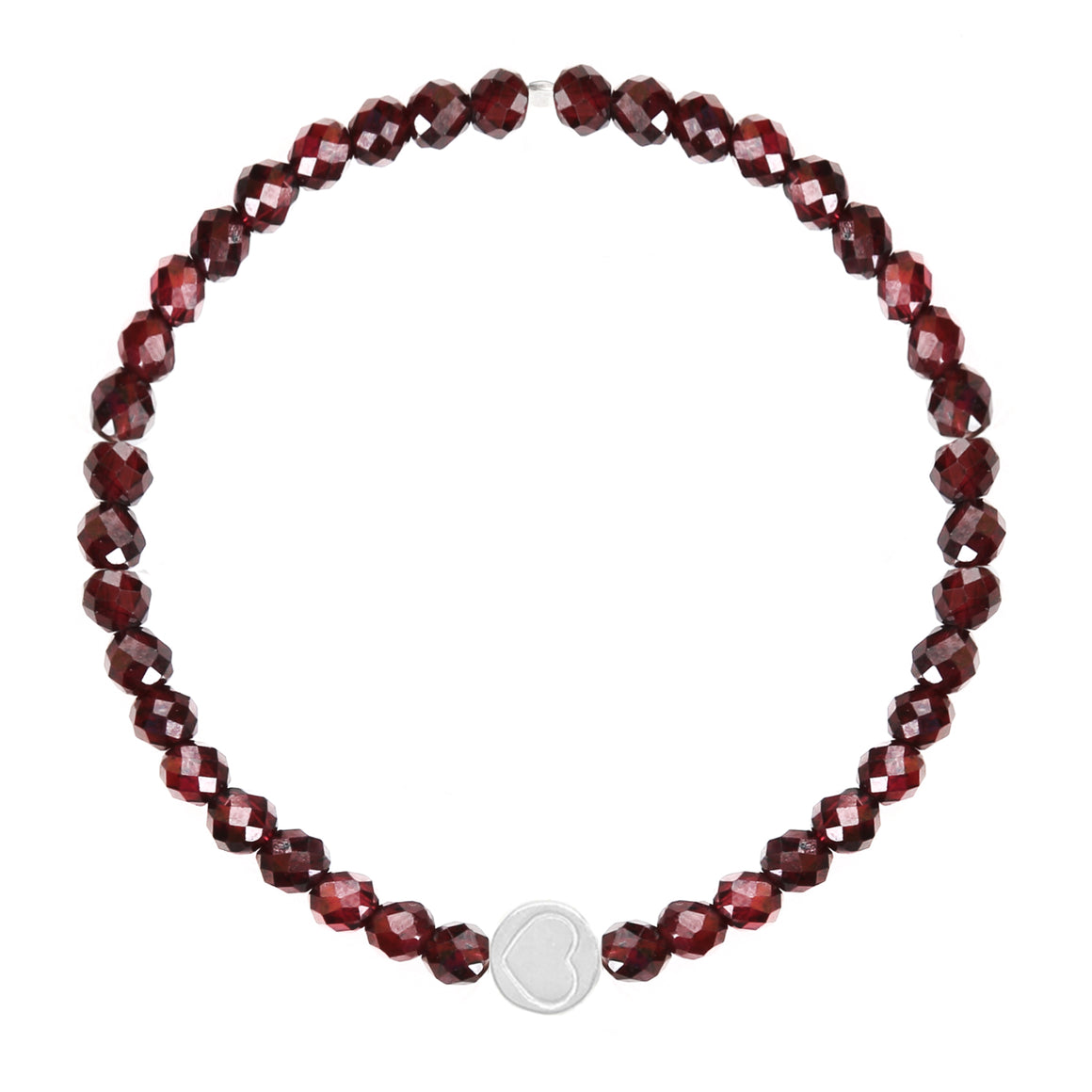 Garnet & Sterling Silver Friendship Heart Bracelet