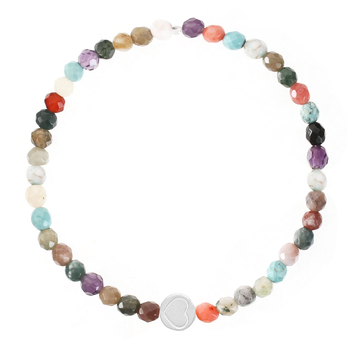 Multi Gemstone & Sterling Silver Friendship Heart Bracelet
