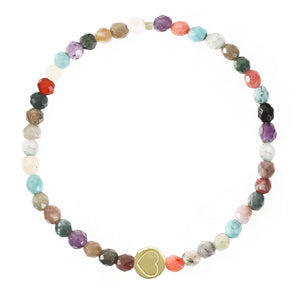Multi Gemstone & Gold Vermeil Friendship Heart Bracelet