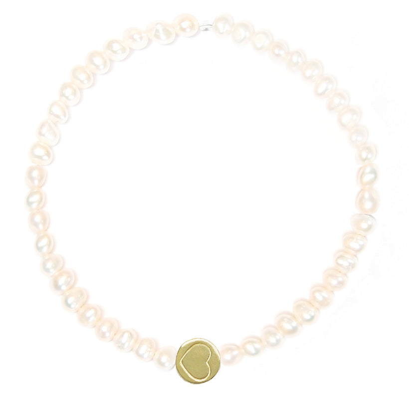 Pearl & Gold Vermeil Friendship Heart Bracelet