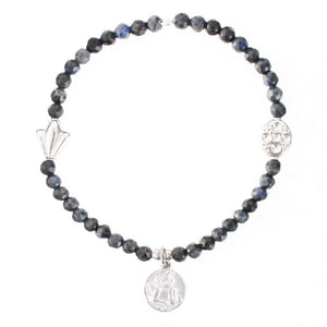 Angel Coin Charm Gemstone Energy Bracelet in Sterling Silver