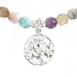 Tree of Life Charm Gemstone Energy Bracelet in Sterling Silver