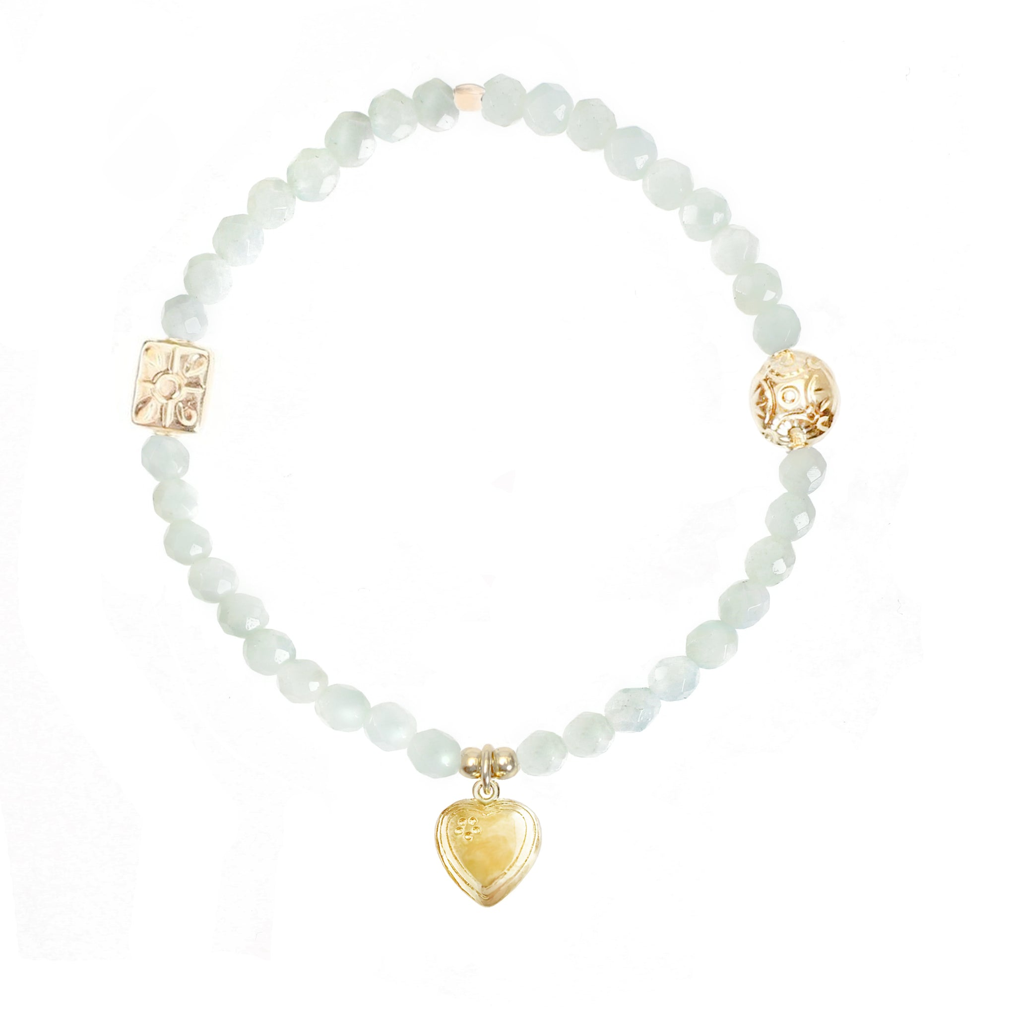 STERLING SILVER BEADED STRETCH STACKING BRACELET,MINI HEART CHARM,AMAZONITE