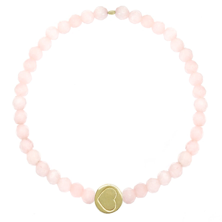 Rose Quartz & Sterling Silver Friendship Heart Bracelet
