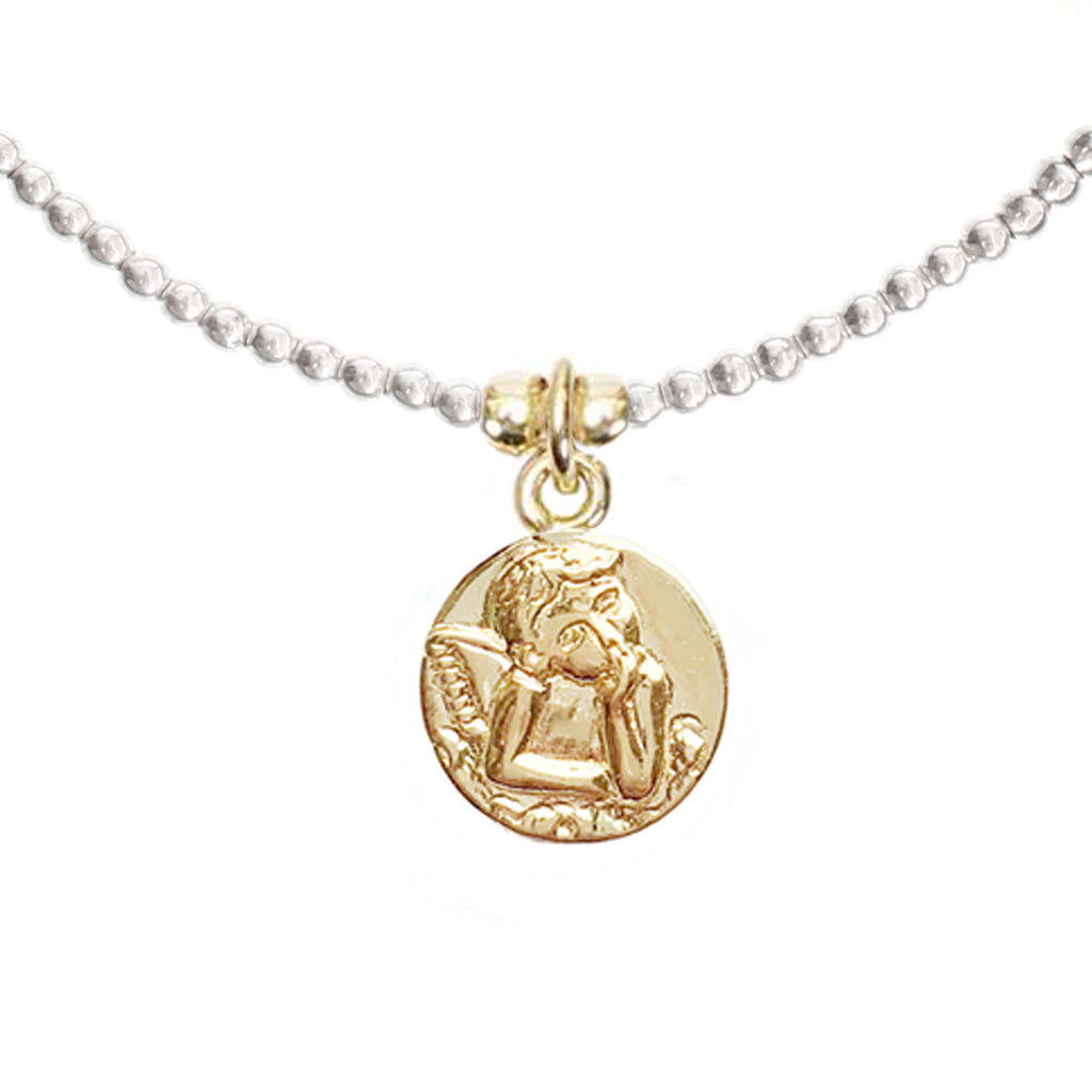 Angel Coin Charm in Gold Vermeil (Sterling Silver)