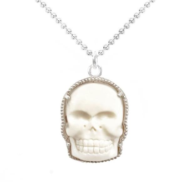 Good Charma Bone And Silver Skull Charm Necklace