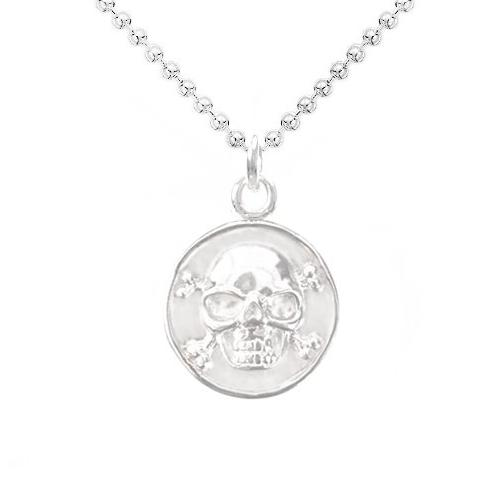 Wise Skull Medallion Necklace in Sterling Silver