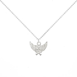Lucky Winged Skull Charm Necklace in Sterling Silver