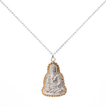Load image into Gallery viewer, Praying Buddha Necklace in Sterling Silver with Gold Vermeil
