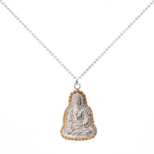Praying Buddha Necklace in Sterling Silver with Gold Vermeil