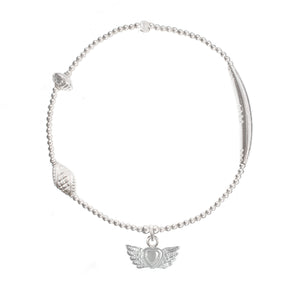 Winged Heart Charm in Sterling Silver