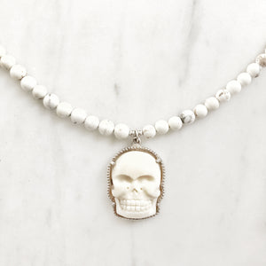Bone Skull & White Turquoise Choker Necklace