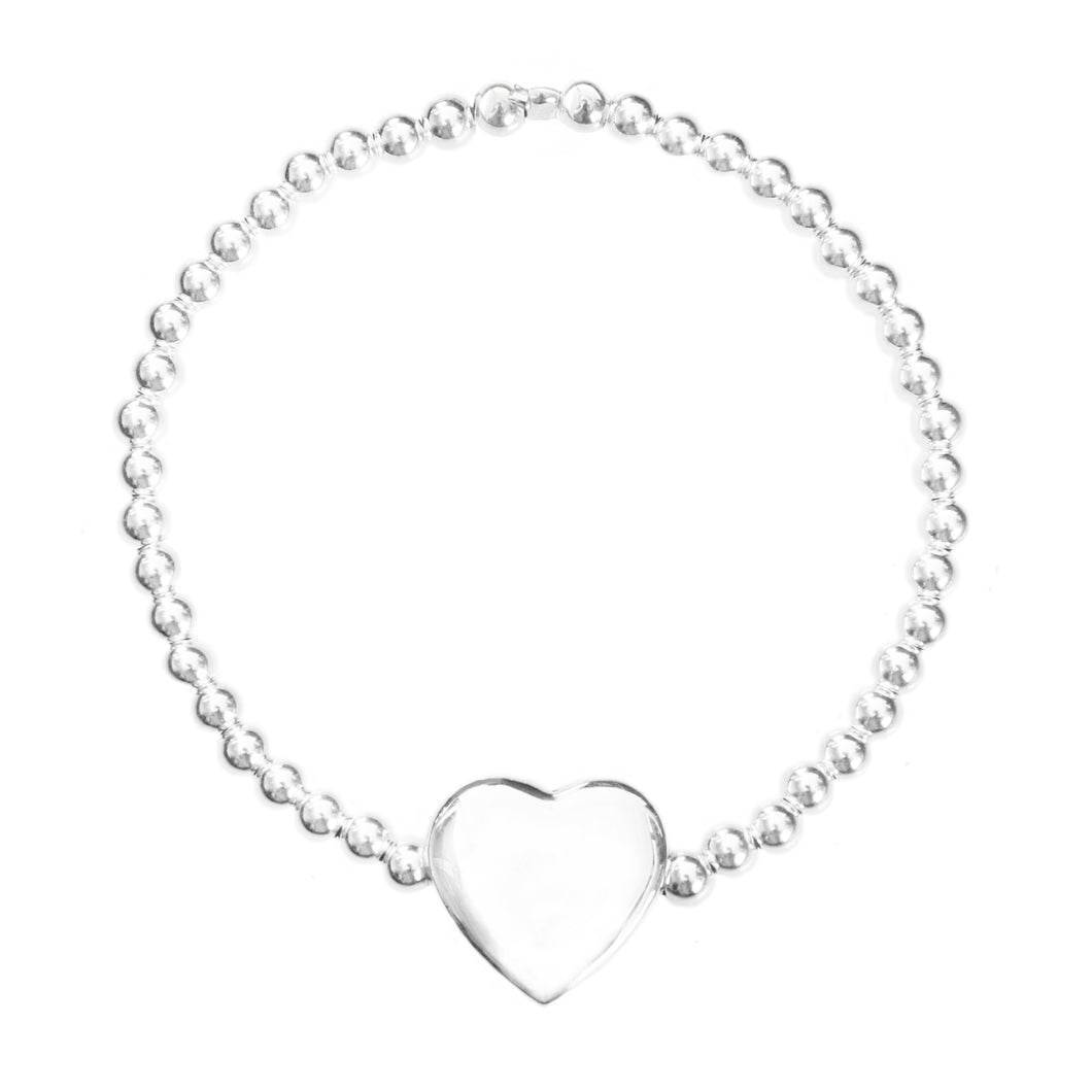 Good Charma Sterling Silver Puffed Heart Bracelet