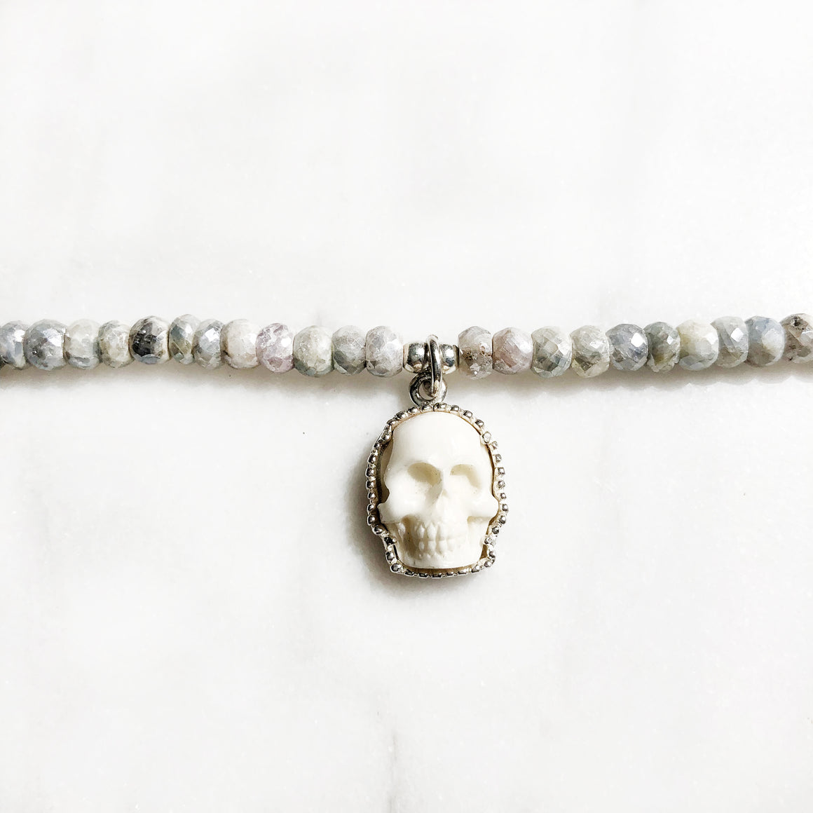 Bone Skull & Silverite Choker Necklace